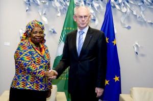 Il presidente del Consiglio Europeo Herman Van Rompuy e la presidente della Commissione dell'Unione Africana Nkosazana Dlamini Zuma