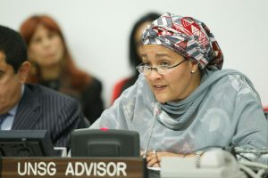 """Amina J. Mohammed, United Nations Secretary-General's Special Adviser on Post-2015 Development Planning, addresses participants at an Open Meeting of the Group of Friends of the Alliance of Civilizations on the topic of """"Peaceful Co-existence as Path to Sustainable Development: Post-2015 Agenda""""."""